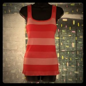 Pink and coral striped tank